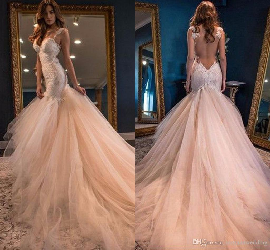 Gorgeous Peach Mermaid Wedding Dresses See Through Back Lace Wedding ...