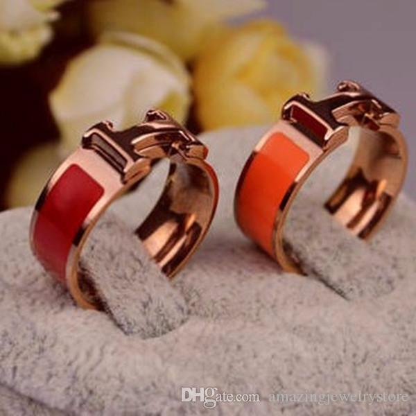 New arrival 316L Titanium Steel Fashion Ring with enamel four colors women and man original brand H ring Jewelry Free Shipping PS6404