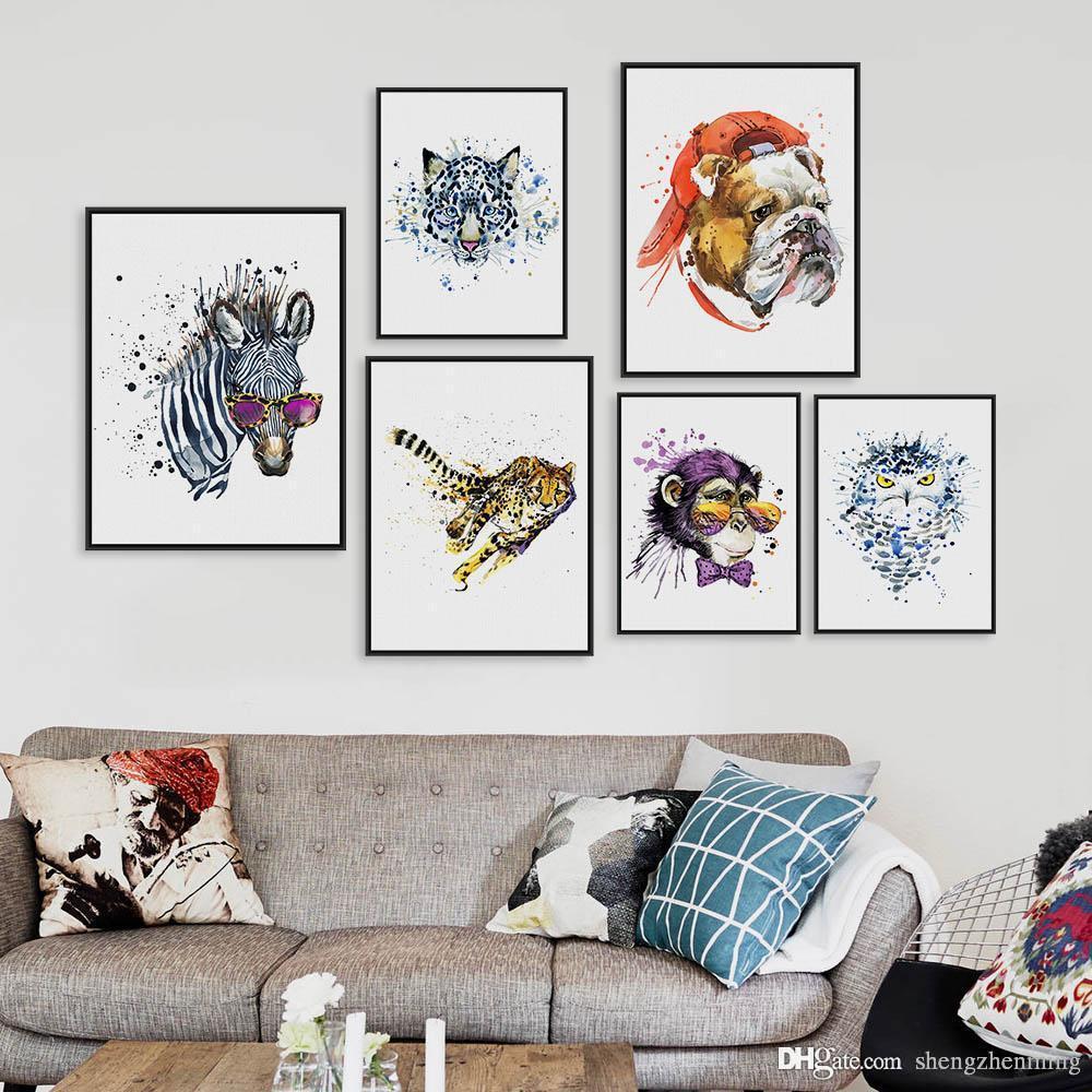 2018 Watercolor Fashion Animals Head Zebra Lion A4 A3 Art Prints ...
