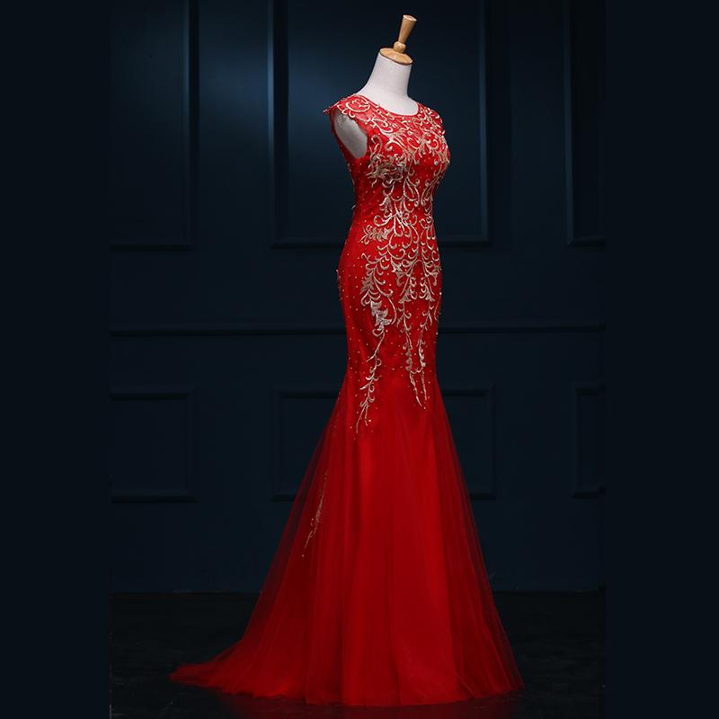 Jewel Neck Long Tulle Mermaid Evening Dress With Embroidery 2019 Floor Length Party Gowns Real Photo