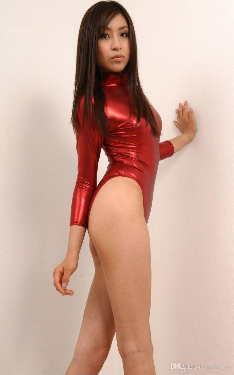 Sexy Women Swimwear High Cut Faux Leather Long Sleeve One Piece Bodysuit Turtleneck Leotard Erotic Sexy Lingerie Porn Club Wear