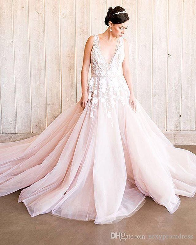 Deep V Neck Lace Applique Beach Wedding Dresses Covered Blush Pink Tulle Sweep Train Bridal Gowns Custom Made Cheap Wedding Vestidos