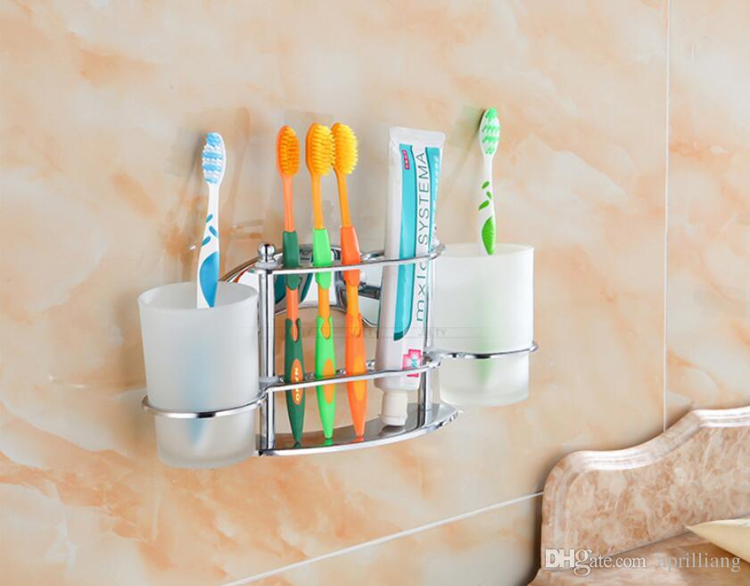 Bathroom Hardware Toothbrush Toothpaste Holder Tumbler Dual Glass - Best place to buy bathroom hardware