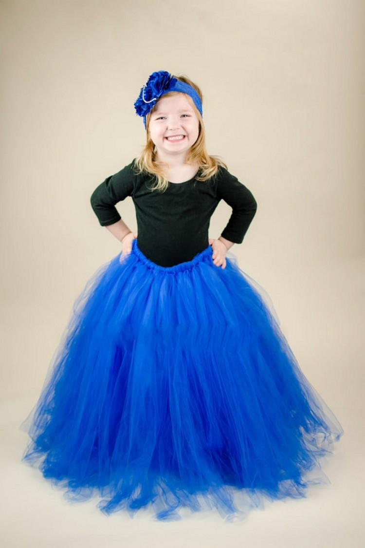 Cute Royal Blue Two Piece Flower Girls Dresses Long Sleeves Tulle Floor Length Ball Gown Birthday Wedding Party Skirt For Children