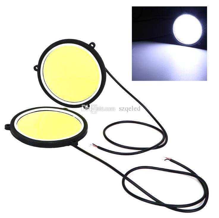Для 12 в универсальный автомобиль белый дневного света круглой формы глаза ангела COB светодиодные дальнего света DRL головные лампы авто лампы стайлинга автомобилей