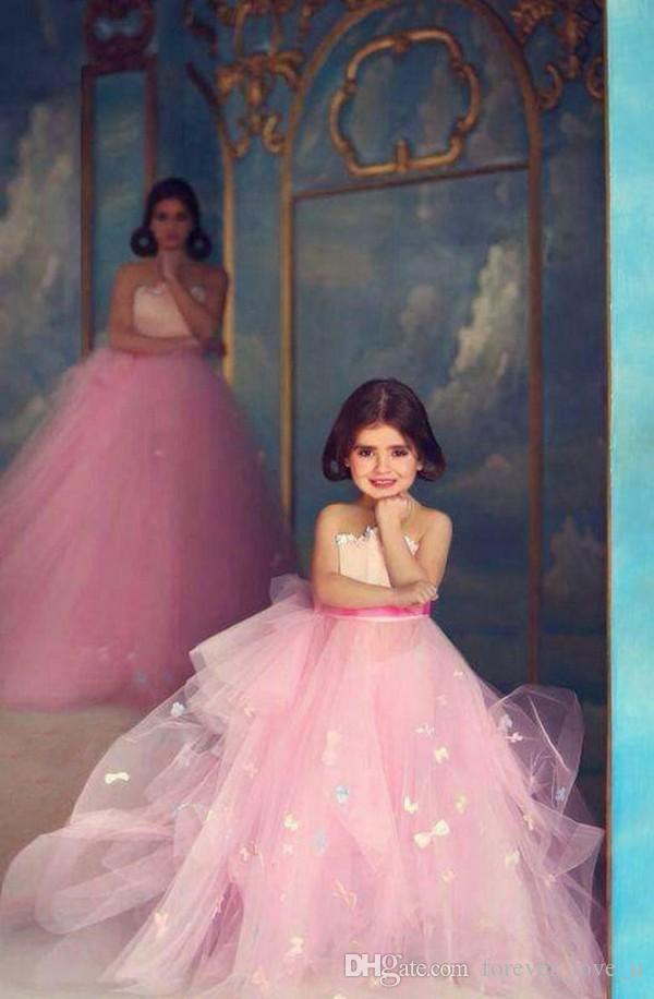 Beliebte Mutter-Tochter-Kleider Rosa Tüll Liebsten Ärmel Lange bodenlangen Abend Partei-Kleid mit vorzüglichem Appliques nach Maße