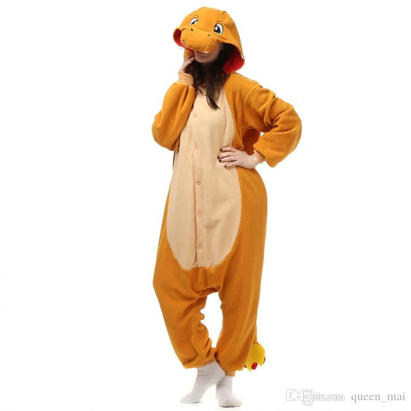 2ae273d0335c Anime Orange Fire Dragon Charmander Adult Onesie One Piece Pocket Monsters  Pikachu Cosplay Pajamas Pijama Carnival Costumes Plus Size XL Canada 2019  From ...