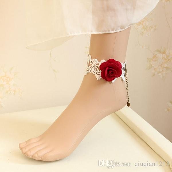 Bridal Wedding Lace Rose Floral Ankle Anklet Ladies Flower Masquerade Foot Bracelet Cosplay Show Barefoot Sandals Fancy Dress