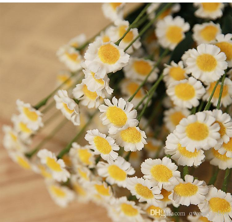 Home Flower Decor 1 Bouquet Artificial Daisy Silk Flowers For Wedding Party Garden Decoration Display Flowers Wall Mounted