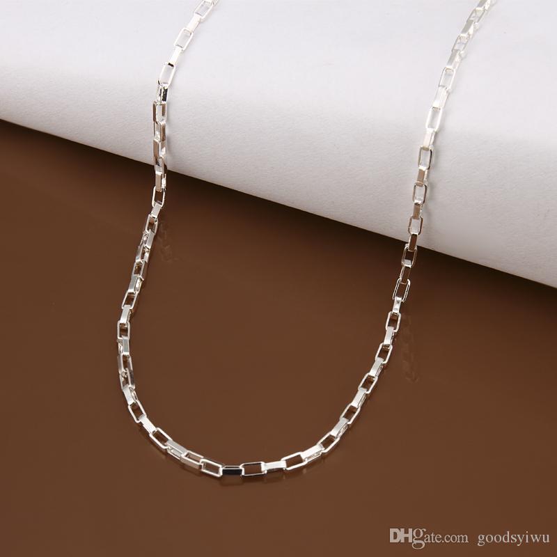 Fashion 925 Silver Beautiful Square Chains 2mm 16/18/20/22/24 inch cube box chain Jewelry C005