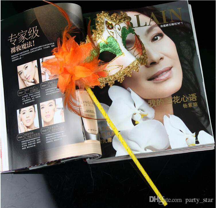 Women Party Painted Flower Side with a Gem Halloween Masquerade Masks