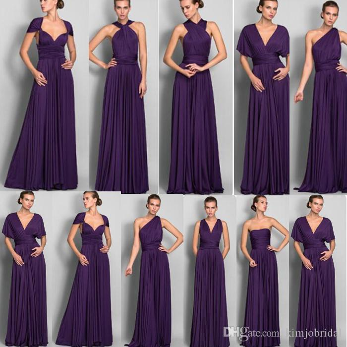 Compre Vestidos De Dama De Honor Púrpura Baratos 2018 Convertible ...
