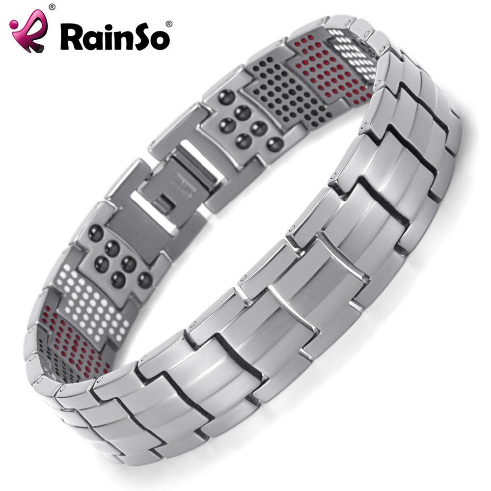 ea1c2bd57d7 Compre Rainso Men Jóias Cura Magnética Bangle Balance Saúde Pulseira De  Prata Titanium Pulseiras Design Especial Para O Sexo Masculino De  Rainsojewelry