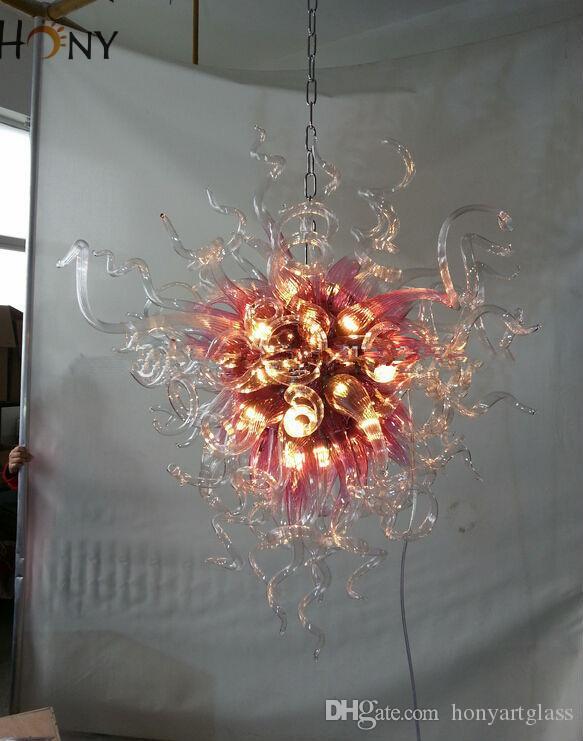 Soffiato libero di trasporto 110v / 120v / 220v / 240v occidentale semplice Glass Design mano Lighting Art Glass Lampadari moderni