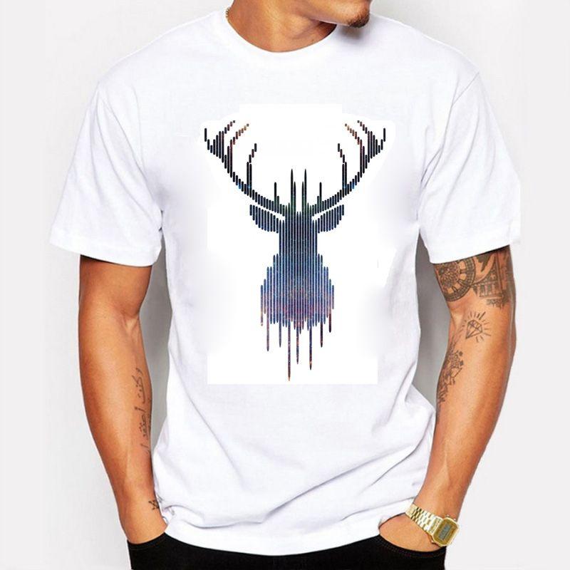 Los hombres del verano camiseta cómoda camiseta transpirable simple y hermoso ciervo o-cuello de moda de algodón camiseta marca de ropa