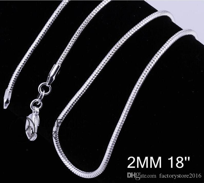 2MM 925 Sterling Silver Snake Chain Necklace 16 18 20 22 24 inch Chains Designer Necklace Jewelry Wholesale Factory Price