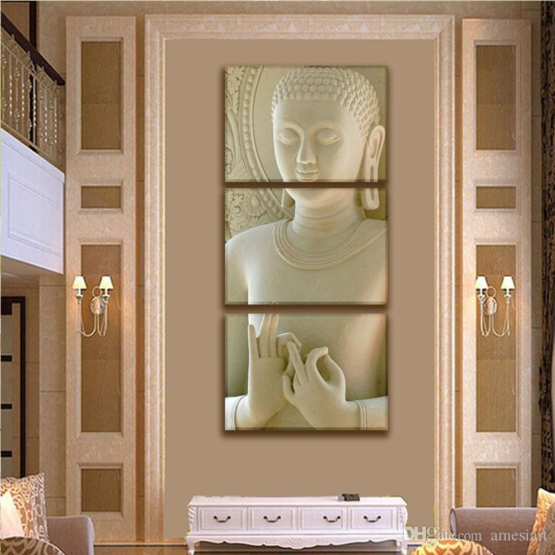 3 Panles White Buddha Picture Wall Art Canvas Paintings Modern Artwork For Modern Home Living Room Decoration With Wooden Framed