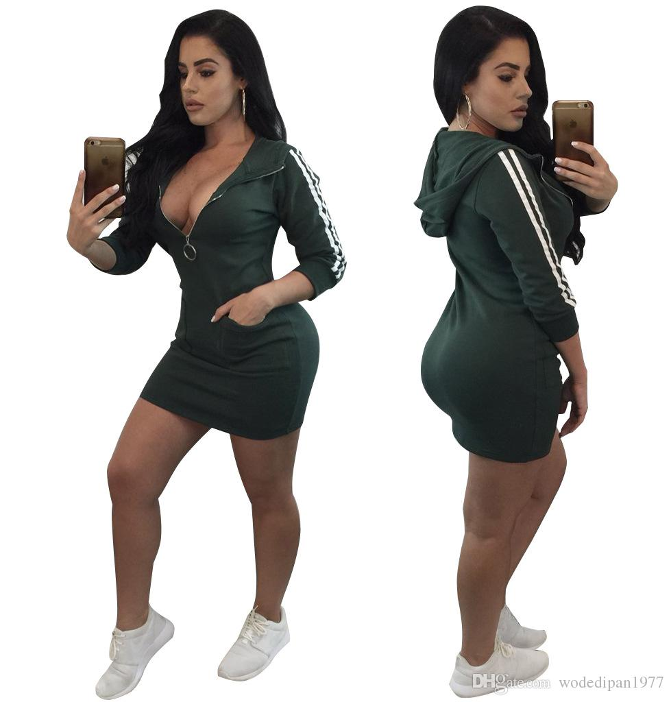 Womens Sexy Club Slim Athleisure Hooded Dresses For Female Fashion Long  Sleeve Zipper Pocket Sports Sheath Bodycon Dress Cocktail Dresses Style  Green Dress ... f10d533dc5