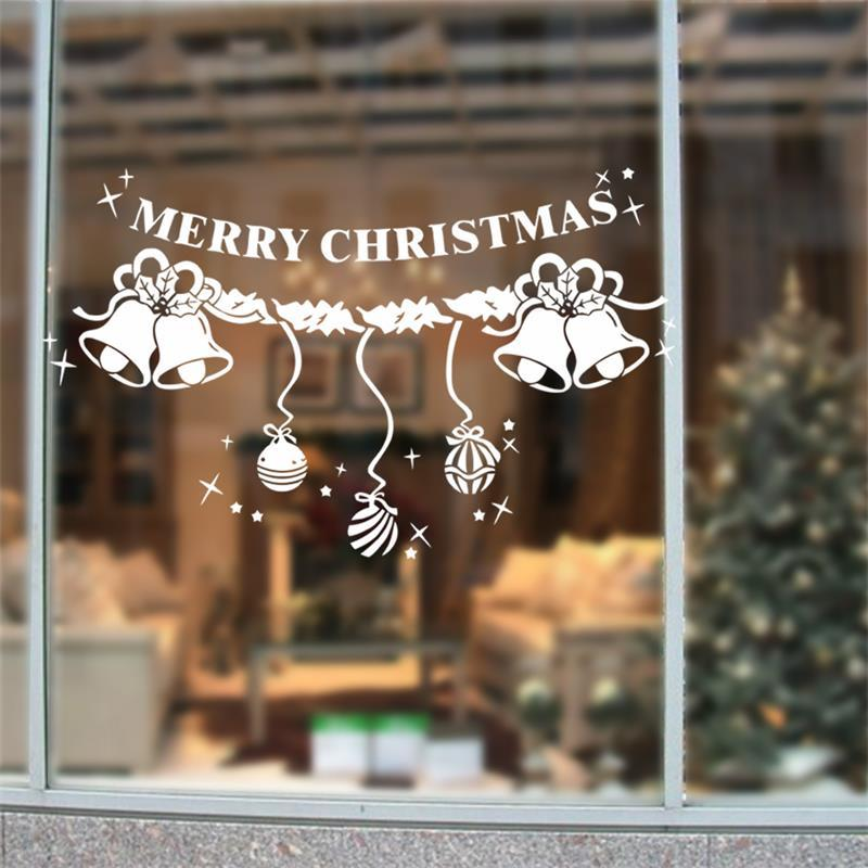 2016 removable white christmas snowflakes bell ornaments window decals wall window glass sticker xmas48 adhesive wall stickers affordable wall decals from - Christmas Decals For Glass