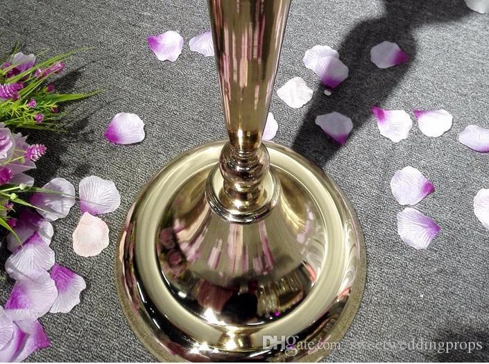 Peça central decorativa dourada do vaso de flor do casamento para a decoração do casamento