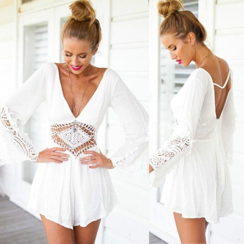 342bd3318d 2019 Summer Overalls Ladies V Neck Chiffon Jumpsuit Long Sleeve Bodysuit Women  Romper Lace Loose Playsuit Combinaison Femme Hollow Out Backless From ...