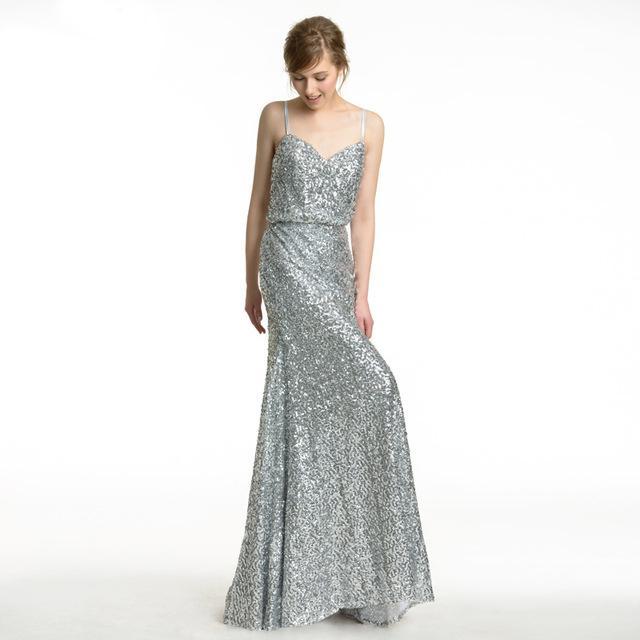 Elegant Silver Sequins Long Bridesmaid Dresses 2018 Spaghetti Straps ...