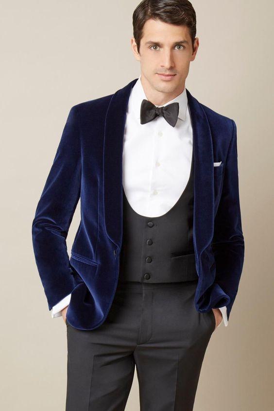 Acheter Bleu Slim Fit Hommes De Mariage Costume Velours Élégant Groom   Porter Fumer Dîner Veste De Mariage Costumes Pour Hommes Velours Tuxedo  Veste De ... db5633ede7d