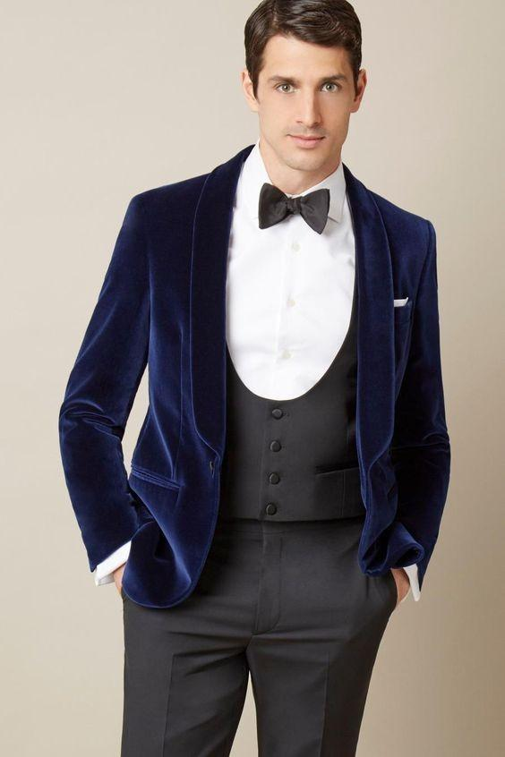 Blue Slim Fit Men Wedding Suit Velvet Elegant Groom S Wear