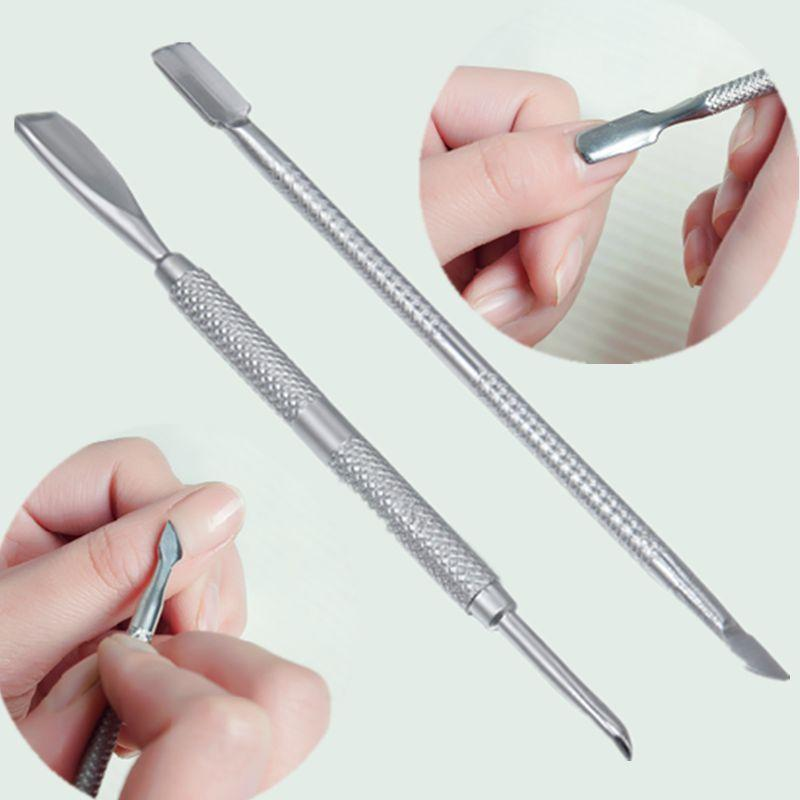 2 X Nail Art Stainless Steel Cuticle Pusher Remover Trimmer Manicure ...