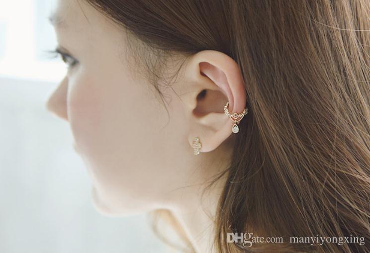 Neue Frauen Mode Ohr Manschette COOL Wrap Strass Knorpel Clip auf Ohrring nicht Piercing