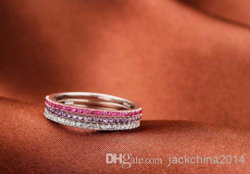 Размер 4-8 Роскошные ювелирные изделия Soild 925 Sterling Silver Multi Ruby / white topaz / Amethyst Gem Wedding Engagement Women Ring для подарка любви