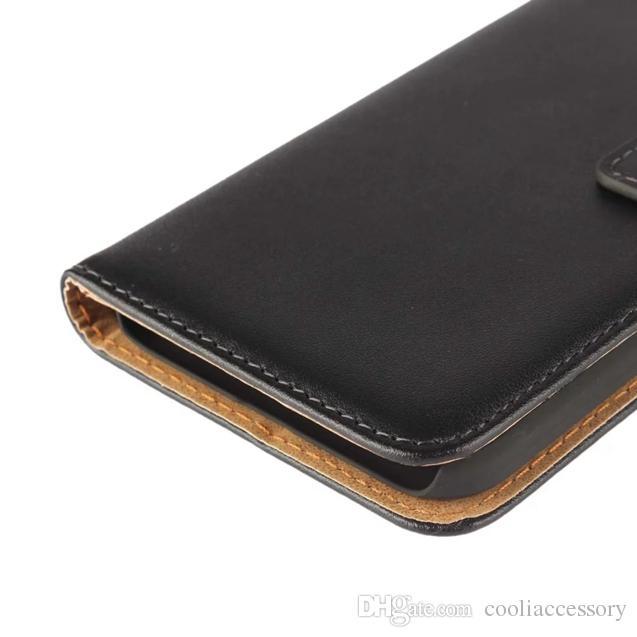 Google Pixel Huawei Y6 PRO Sony Xperia XZ Compact X raccoglitore del cuoio genuino della cassa del sacchetto reale del supporto del basamento della carta di identificazione di copertura Borsetta nera di lusso