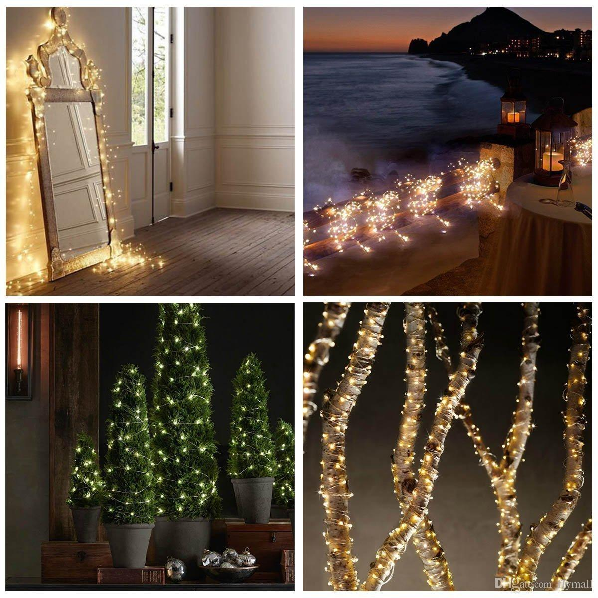 Solar Powered String Light 33ft 100 LEDs Starry String Light Copper Wire String Light Ambiance Lighting for Gardens, Home, Christmas Party