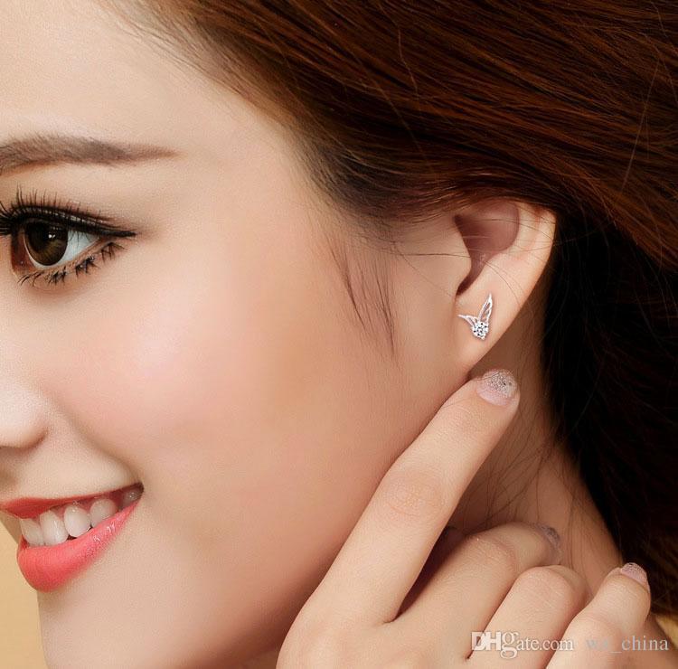 Mulheres Anjo Asas Brincos Moda Coréia do Sul Bohemian Ouro Branco Overlay Orelha Jóias 925-Sterling-Silver Asa de Cristal Austríaco Anjo