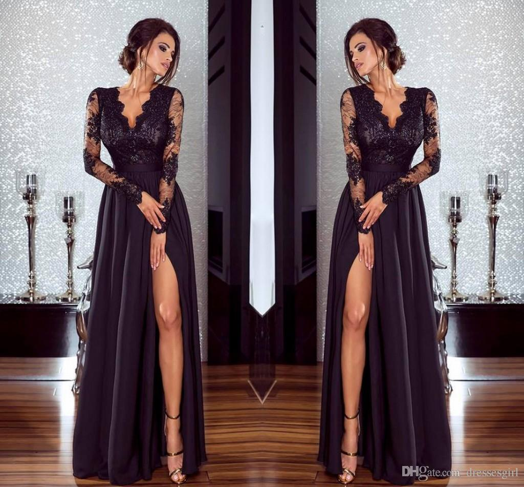 Modern 2018 New Prom Dresses High Slit Front A Line V Neck Black ...
