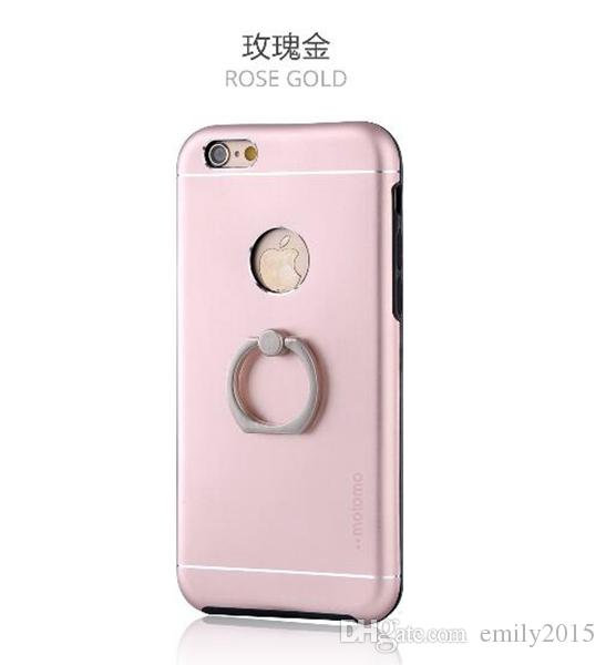 Motomo TPU + PC + Metall + Ring halten Stand Hard Back Cover Brush Fällen für iPhone 5 6 7, 6 plus 7 plus