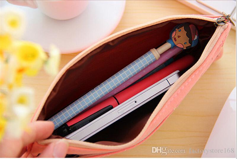 4 세트, 꽃 꽃 캔버스 화장품 펜 연필 문구 파우치 가방 케이스 더블 지퍼 메이크업 파우치 키트