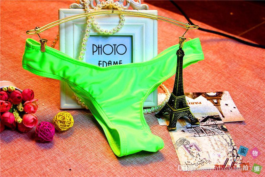 Troncos de Natação das mulheres Sexy Estilo Brasileiro Bikini Swimwear Maiô Semi Tanga Thong Inferior Com Cortina