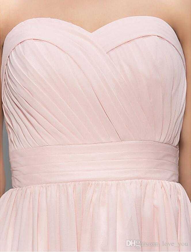 패션 비치 여름 펄 핑크 A 라인 연인 무릎 길이 민소매 쉬폰 칵테일 드레스 주름 맞춤형 간단한 드레스
