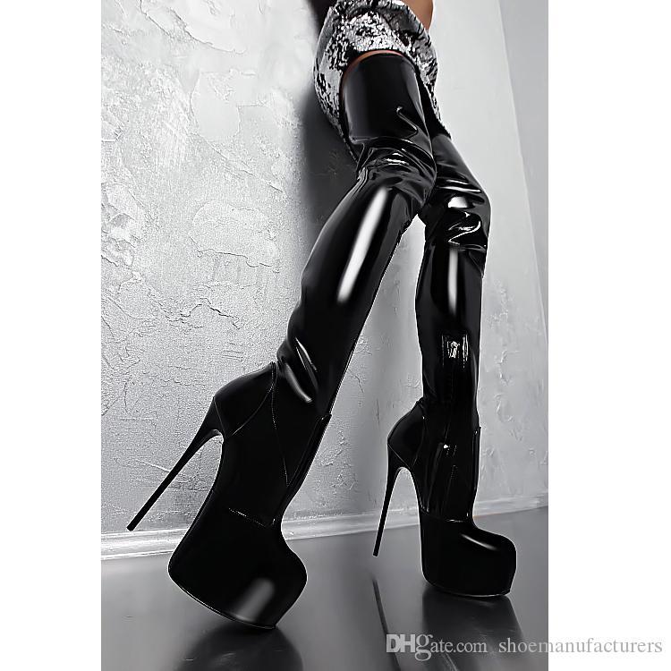 a10ef85f8 Cuissardes noires brillantes pour bottes pour dames avec plateforme à  talons hauts de 16 cm Bout rond bottes de créateur de mode avec plateforme  ...