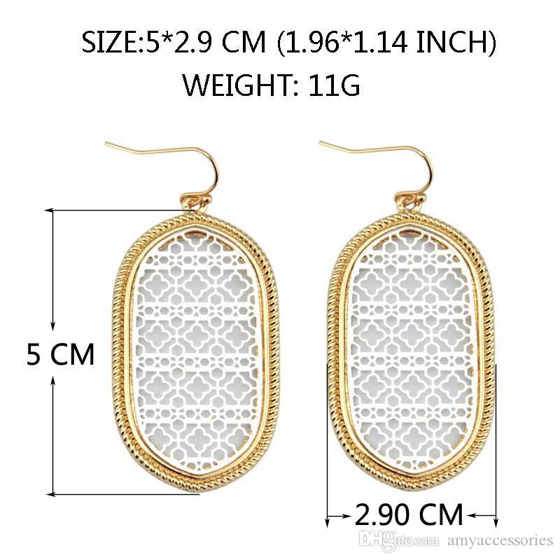 Christmas Gift Boutique Filigree Oval Earrings Costume Two Tone Filigree Earrings for Women 2017 Fashion Statement Jewelry Dangle Earrings