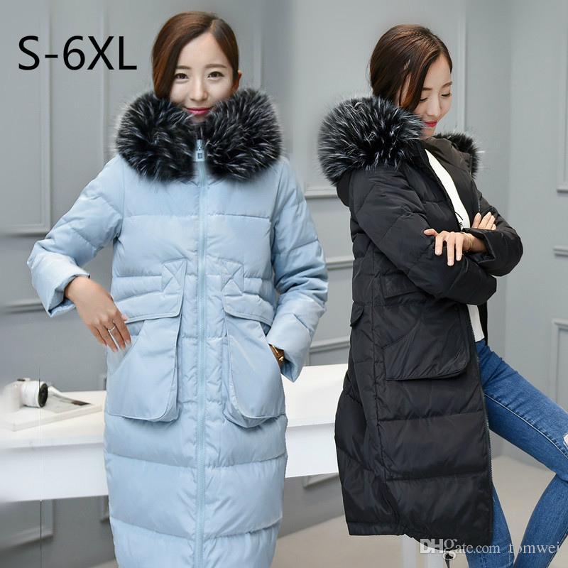 a71fcf4feca Large Size Women Winter Jacket Long Down Coat Hooded White Duck Down ...