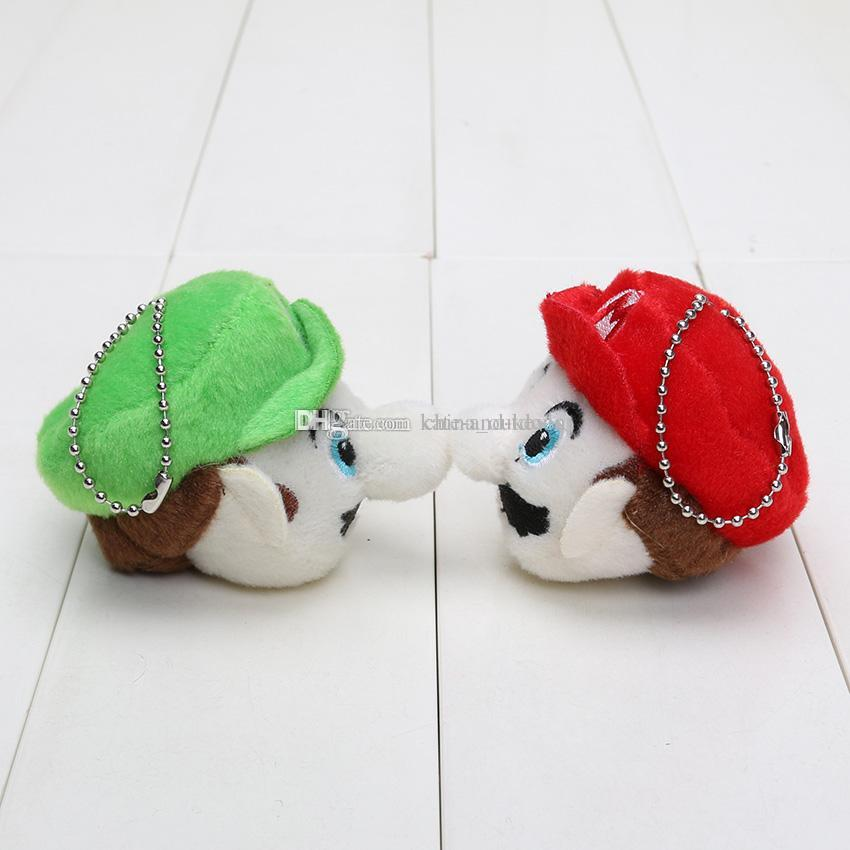 6cm Super Mario Bros plush pendant Mario & Luigi head Plush Keychain Plush Toy Soft Stuffed Doll phone strap