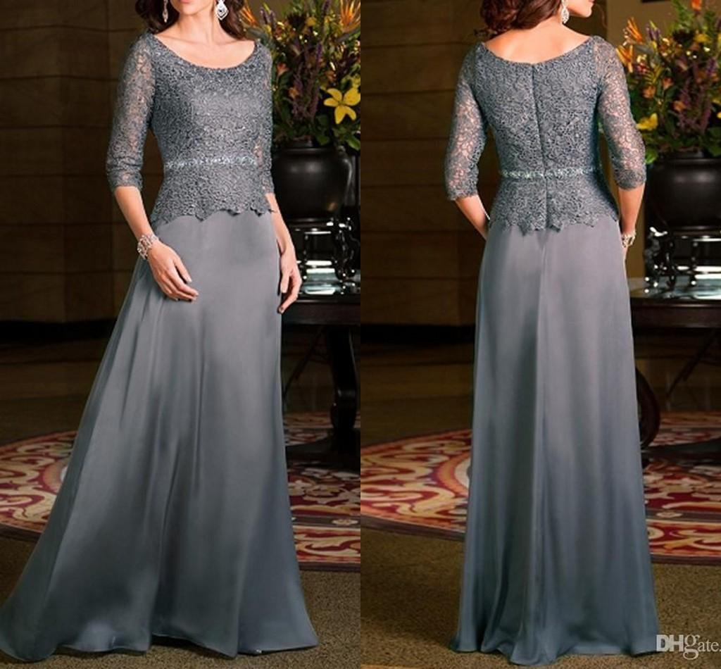Vintage Grey Mother Of Bride Dresses With 3/4 Long Sleeves 2016 Jewel Lace  Chiffon Women Evening Dress Wedding Party Gown Formal Wear Grey Mother  Bride ...
