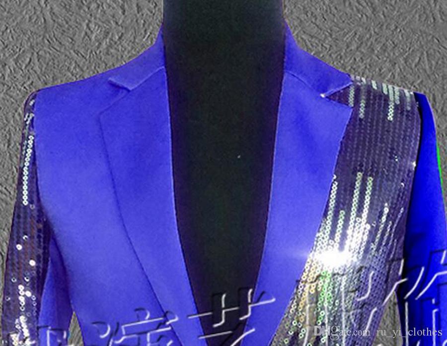Chaqueta con lentejuelas / S - 4 xl con personalidad de caballero personalidad edición de han trajes cantante estrella escenario rendimiento estudio estudio lentejuelas