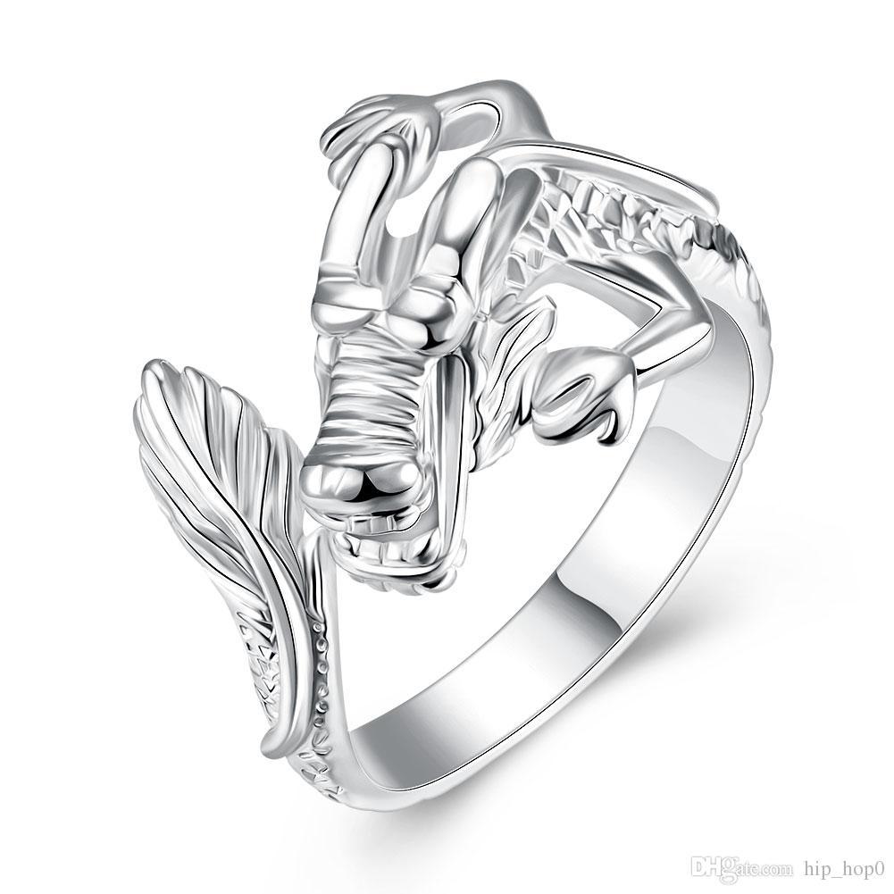 d38190e37797 Compre Chinese Dragon Ring 925 Sterling Silver Plateado Joyería Abierta Y  Ajustable Anillo De Dedo Mujeres Unisex Joyería De Moda Regalo Encantador A   0.9 ...