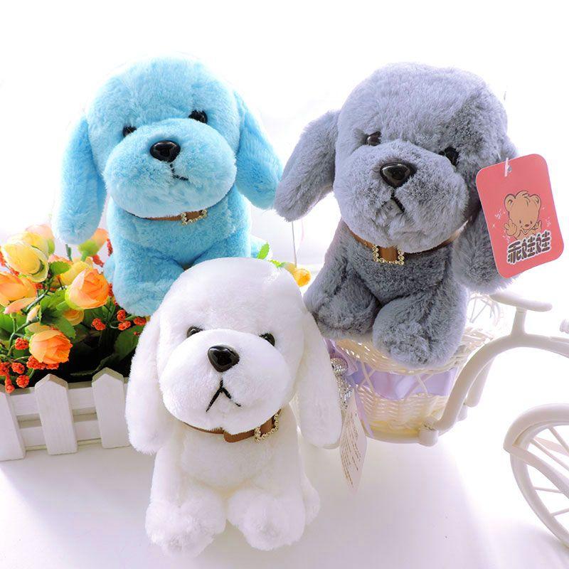 2019 15cm Small Puppy Stuffed Plush Dogs Toy White Grey Blue Soft