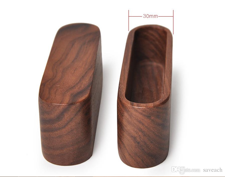 Yellow Brown Walnut Beech Wood Business Card Holder Name Card Organizer, Office Accessories Display Stand