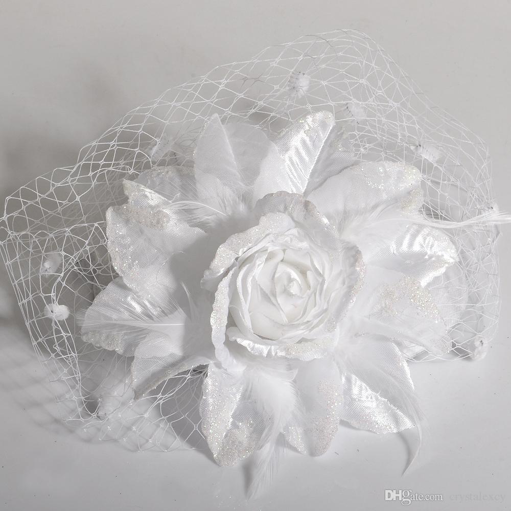Lady Handmade Netting Flower Fascinator Hair Clip Cocktail Hat bridal Wedding Party Decoration fancy dress accessory pillbox hat