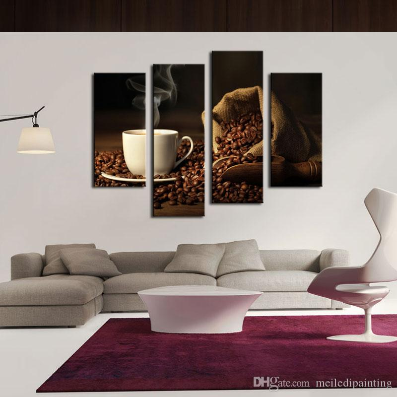 Amosi Art-Brown A Cup Of Coffee And Coffee Bean Wall Art Painting The Picture Print On Canvas Food For Home Decor Wooden Framed